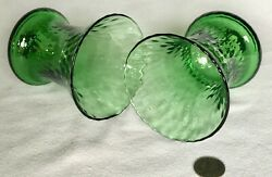 HURRICANE PAIR Vintage Green Glass FOR CANDLE HOLDER 5quot; $14.95