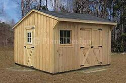 12' x 12' Wooden Storage Saltbox Style Shed Plans Material List Included #71212