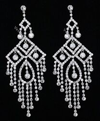 4.75quot; Bridal Prom Pageant Crystal Chandelier Earrings $15.99