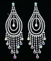 4.75quot; Bridal Pageant AB Crystal Chandelier Earrings $15.99