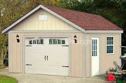 16 x 20  Garage Structure  Yard Storage Gable Shed Plans Design #51620