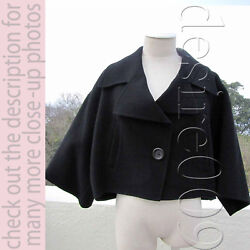 Issey Miyake Black Wool Cape Poncho Cropped Jacket XS to Free