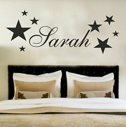 Your Name Personalised Wall Art Stickers Kids Stars Bedroom Custom Text GBP 7.99