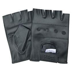 Prime Leather fingerless men weight training cycling wheelchair gloves black 501 GBP 7.99