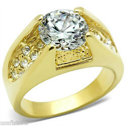 4.7ct Round Shape CZ Yellow Gold Plated Ladies Fashion Ring