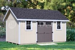 Backyard Storage Shed Plans 12' x 16' Gable Roof #D1216G Material List Included