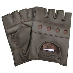 Soft leather fingerless men weight training cycling wheelchair gloves brown 502 GBP 7.99