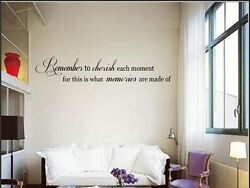 REMEMBER TO CHERISH Vinyl Wall Art Decal Words Lettering Sticker Home Decor 24quot; $8.95