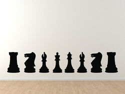 Chess Icon Champion Back Row Set Solid Piece Silhouette Vinyl Wall Decal $11.99