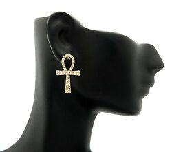 New Celebrity Style ANKH CROSS Piece Pierced Fashion Earring XE1100