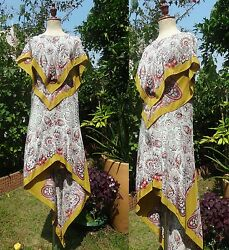 Etro Paisley Scarf Print Silk Dress Kaftan Gown Dress w Wings I40S-M