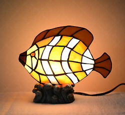 Stained Glass Handcrafted Fish Night Light Table Desk Lamp. Metal Base