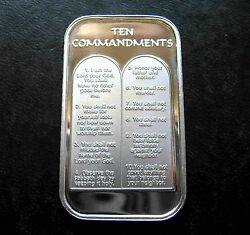 1oz TEN 10 COMMANDMENTS .999 PURE SILVER BAR ~ UNC & SEALED IN VINYL ! $42.00