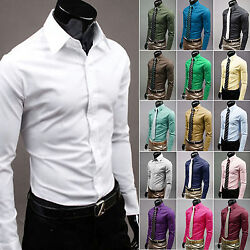 Slim Fit Luxury Men's Dress Casual Stylish Shirts 5 Sizes and Many Colors PK22 $12.99