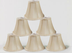 Urbanest Cream Chandelier Mini Lamp Shades Set of 6 Soft Bell 3quot;x6quot;x5quot; Clip on $38.00