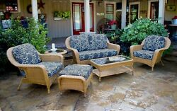 6 Pieces Outdoor Patio Furniture Mojave Resin Wicker Deep Seating Love Seat Set