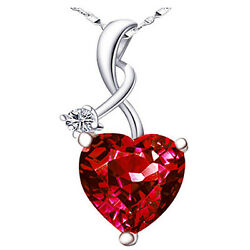 4.03Ct Ruby Gemstone Heart Cut Pendant 925 Sterling Silver Necklace w 18