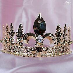 Imperial Medieval Men Tiara Crown Rhinestone Gold Headband Pageant Party Costume