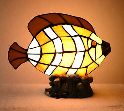 Stained Glass Handcrafted Fish Night Light Table Desk Lamp. Cute!