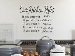 OUR KITCHEN RULES Vinyl Wall Art Decal Decor Lettering Words Quote Sayings $11.99