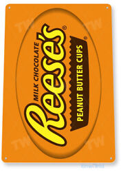 TIN SIGN Reese#x27;s Cups Metal Décor Wall Art Kitchen Candy Store A591 $8.95