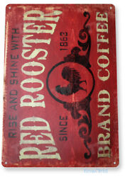 TIN SIGN Coffee Red Rooster Metal Décor Art Kitchen Store Café Bar A296 $9.25