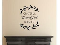 GRATEFUL THANKFUL BLESSED Wall Art Decal Quote Words Lettering Decor $10.00
