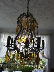 Spectacular early 1900's French amber crystal Bagues style chandelier