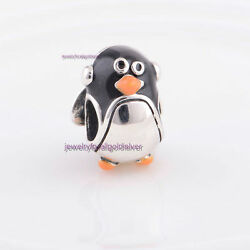 Sterling Silver 925 European Charm Penguin with Ear Muffs Bead