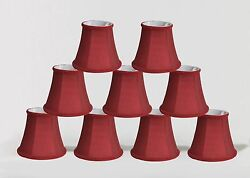 Urbanest Chandelier Mini Lamp Shades5quot; Bell SilkBurgundy Braid TrimSet of 9 $48.99