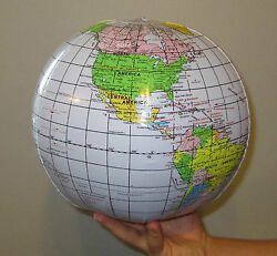 2 NEW INFLATABLE WORLD GLOBES BEACH BALL INFLATE EARTH MAP TEACHER AID GEOGRAPHY $6.50