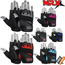 Weight Lifting Gloves Leather Fitness Gym Training Workout Glove Mens Womens MRX $11.99