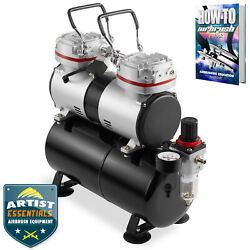 PointZero 1 3 HP Dual Piston Airbrush Compressor with Tank Gauge and Water Trap $156.75