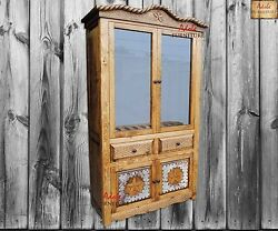 Western Rustic Gun Cabinet Hand Crafted in Solid Wood with Cowhide