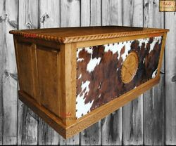 Western Rustic Office Desk with studded Cowhide. Handcrafted with Solid Wood.