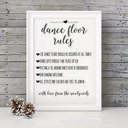 Brown Vintage Rustic A3 #x27;Dance Floor Rules#x27; sign for weddings UNBACKED unframed GBP 10.99