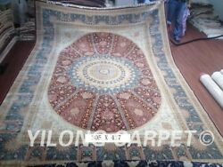 10x14 Large Vtg RedBlue Pure Silk Hand Knotted Persian Rugs Living Room Carpet