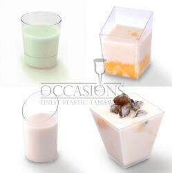 Dessert MINI plastic dishes shot glasses cups bowls plates forks