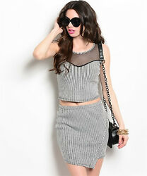 New Sexy Womens Two Piece Crop Top And Skirt Sets $24.95