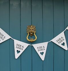 Mr and amp; Mrs White Wedding Bunting Scalloped Heart Card Bunting Banner Garland GBP 5.25