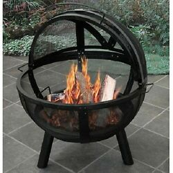 Ball Of Fire Outdoor Fire Pit Fireplace Patio Backyard Portable Black Camp NEW