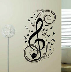MUSIC NOTE Swirl Vinyl Wall Sticker Home Decal Decor Lettering Words Art $15.99
