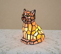 Stained Glass Handcrafted Kitty Cat Night Light Table Desk Lamp