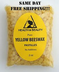 YELLOW BEESWAX BEES WAX by H&B Oils Center ORGANIC PASTILLES BEADS PURE 2 OZ
