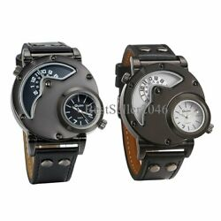 Men Military Army DUAL TIME Quartz Leather Band Waterproof Wrist Watch Sport US