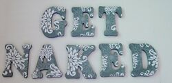 Wood Letters Wall Letters Decorated Letters Large quot;GET NAKEDquot; Bathroom Decor $58.00