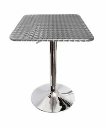 Stainless Square Table Top Bistro Pub Bar Hydraulic Patio Adjustable Height