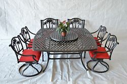 Pam Tree Outdoor Patio 10pc with SquarDining Table 64