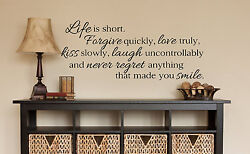 LIFE IS SHORT Wall Art Decal Quote Words Lettering Decor DIY Sticker $10.50