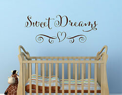 SWEET DREAMS HEART Girls Decor Wall Art Decal Quote Words Lettering Sticker $9.95